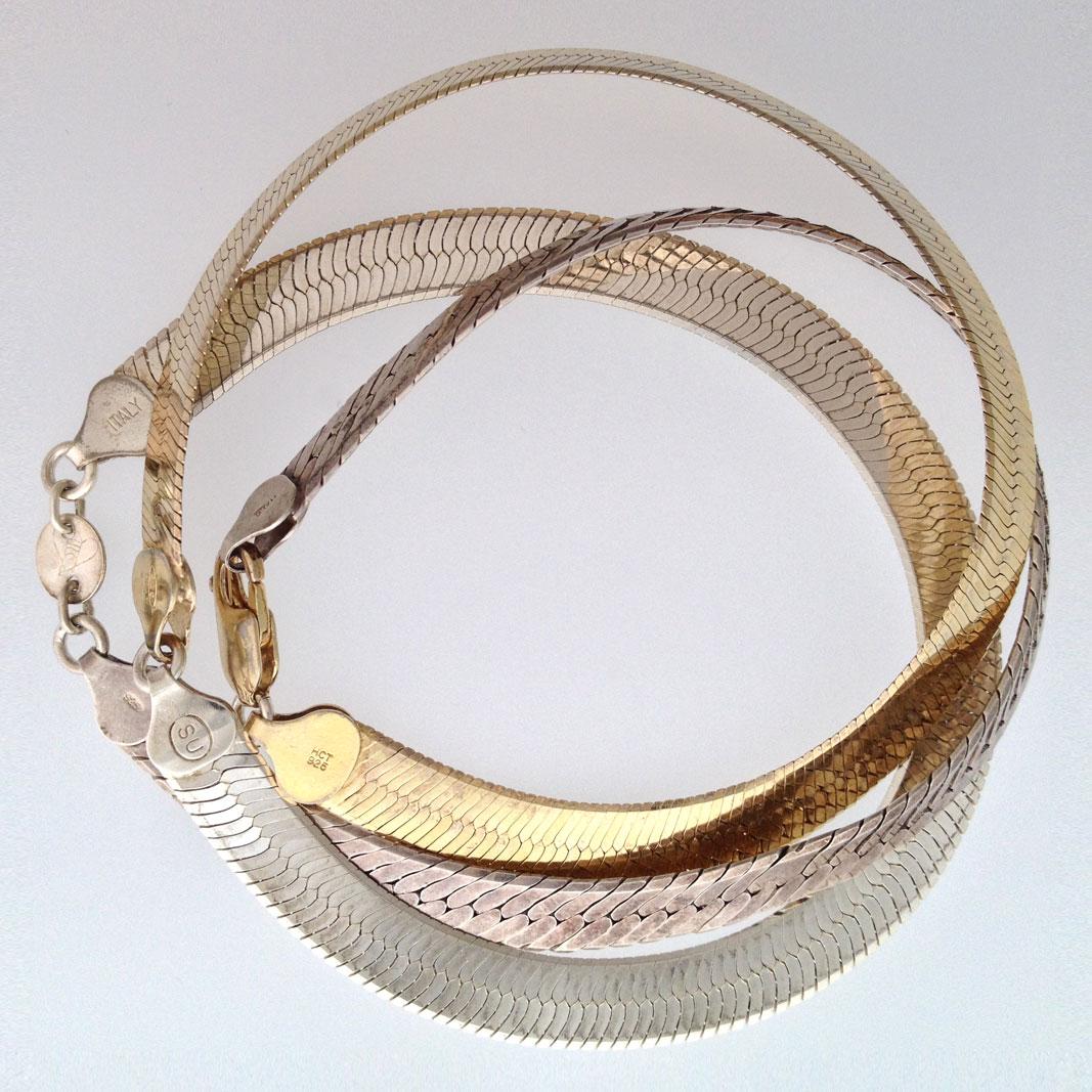 Sterling silver Men's Jewelry: Herringbone jewelry #78