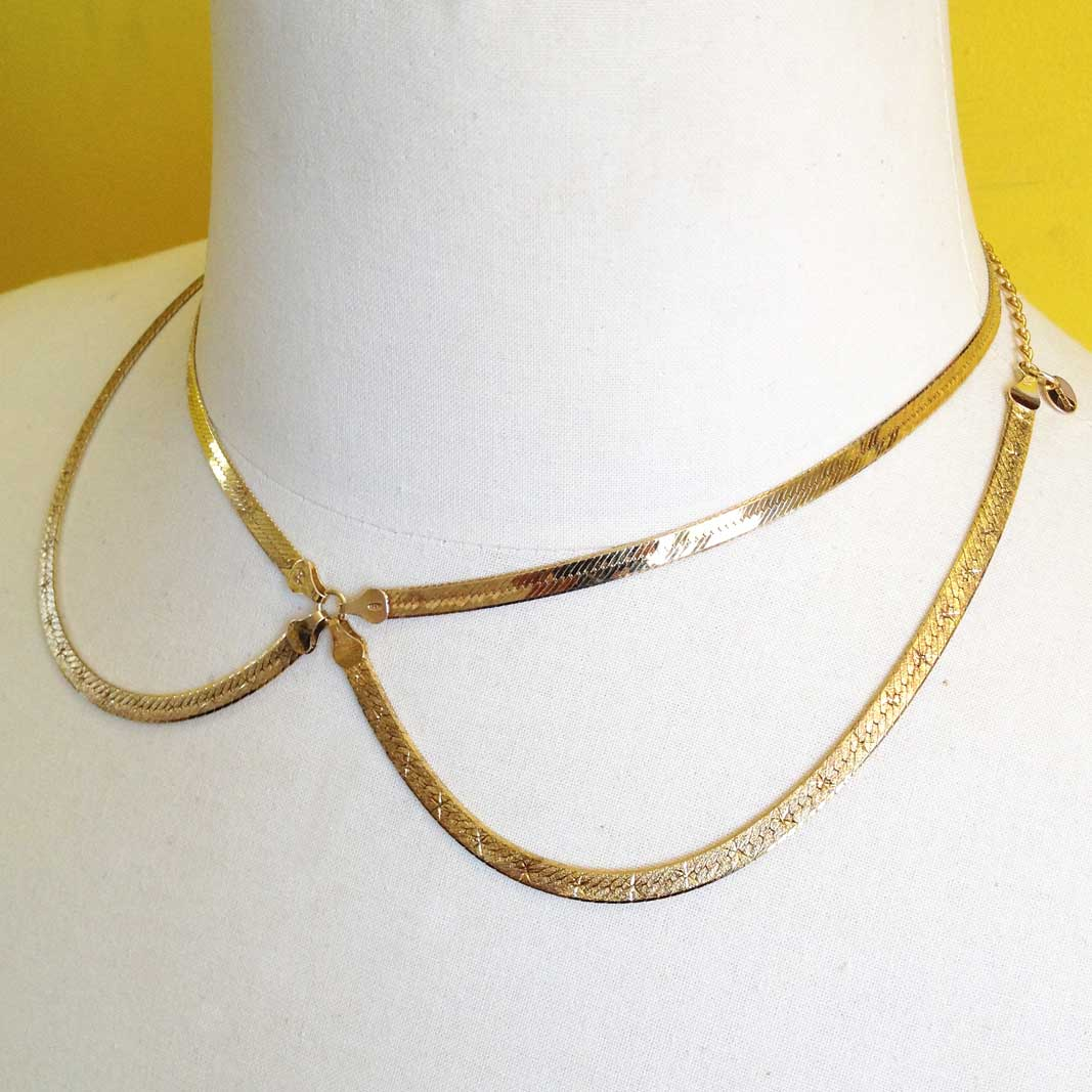 Herringbone Bib Choker #5 is made from vintage gold-plated sterling silver Herringbone chain