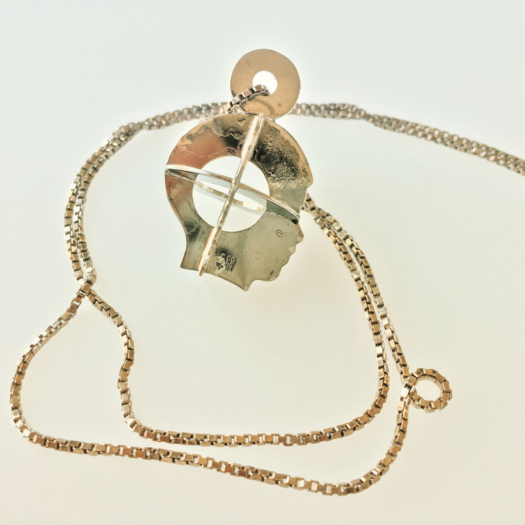 3D Silhouette Necklace #2 is made from 2 matching vintage sterling silver profiles.